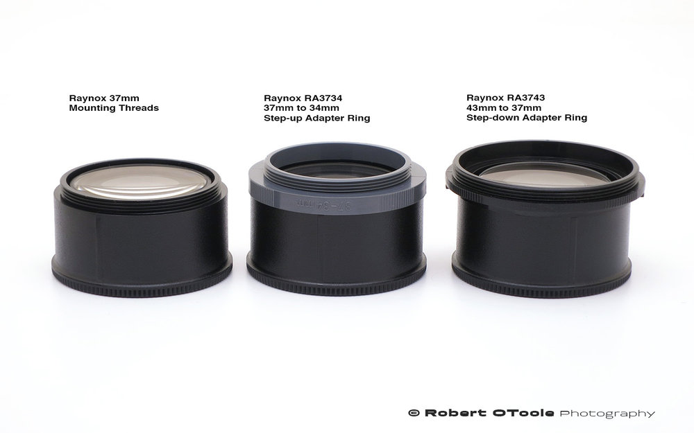 Raynox RA3734 Step-up Adapter Ring and RA3743 Step-down Adapter Ring.