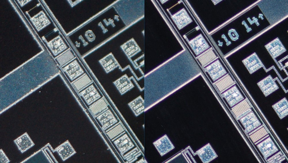 Lomo 3.7x 0.11   Microscope Objective vs   Nikon CFI Plan Fluor 4X/0.13 Microscope Objective vs 100% corner crop. Clicking on an image will open a larger version.