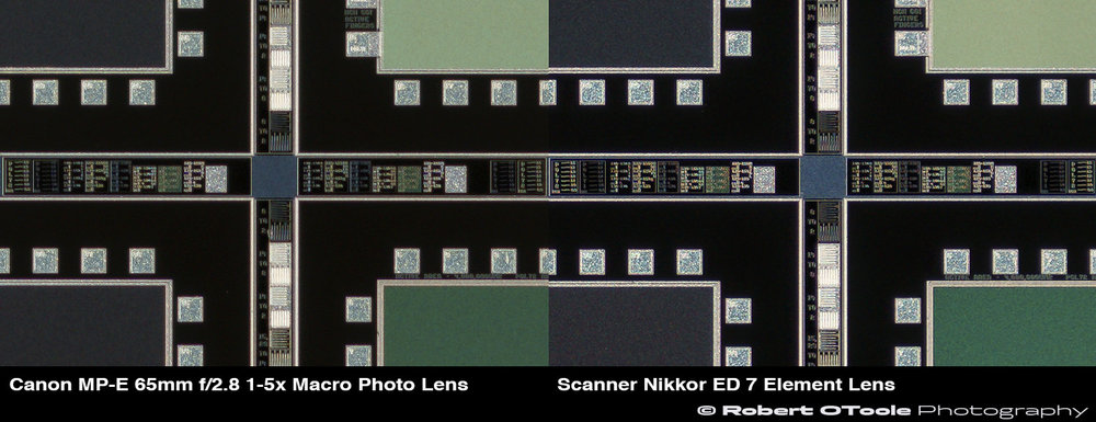 100% center crops, Canon MP-E 65mm f/2.8 1-5x Macro Photo Lens at f/4 vs the Scanner Nikkor ED 7 Element Lens