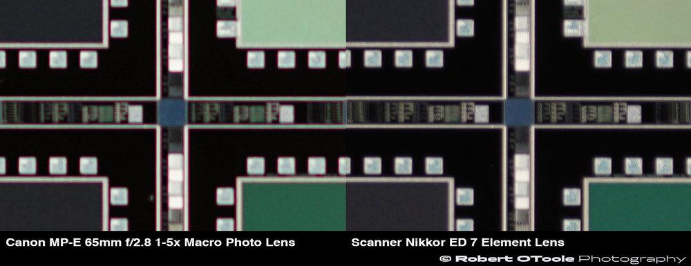 Longitudinal chromatic aberration or Bokeh CA crops, Canon MP-E 65mm f/2.8 1-5x Macro Photo Lens at f/4 vs the Scanner Nikkor ED 7 Element Lens
