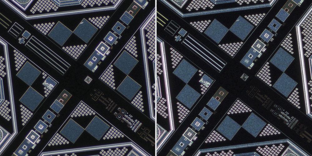 Olympus MPlan FL N 5x 0.15 Semi-Apochromat Objective vs Sigma 150 f2.8 OS + Xenon 28mm f2 Line Scan Lens 100% Center Crops