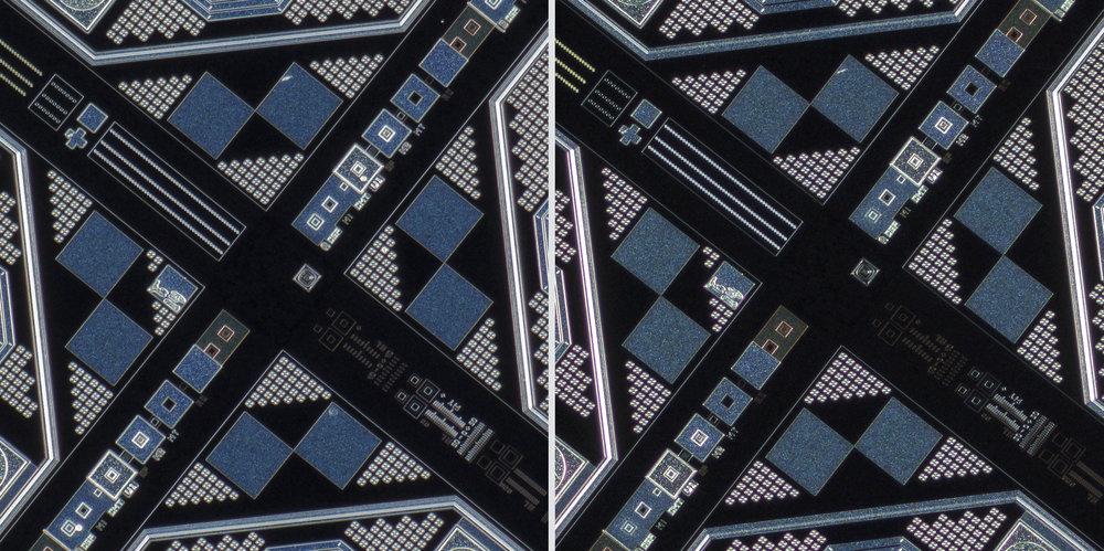 Mitutoyo M Plan Apo 5X 0.14 objective vs Sigma 150 f2.8 OS + Xenon 28mm f2 Line Scan Lens 100% Center Crops