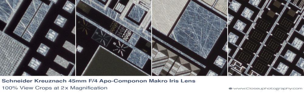 Schneider APO-Componon 45mm f4 Makro Iris Machine Vision Lens 100% crops at 2.1x