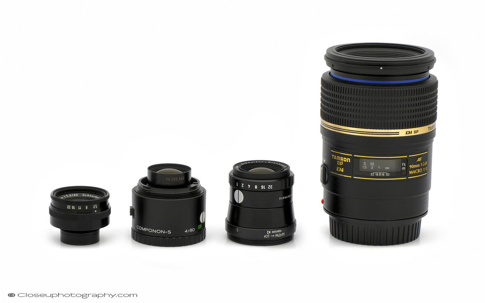 Left to right: Schneider Componon 80mm f5.6, Schneider Componon S 80mm f4, Schneider M-Componon 80mm f4, Tamron AF 90mm f/2.8 SP Di macro lens.