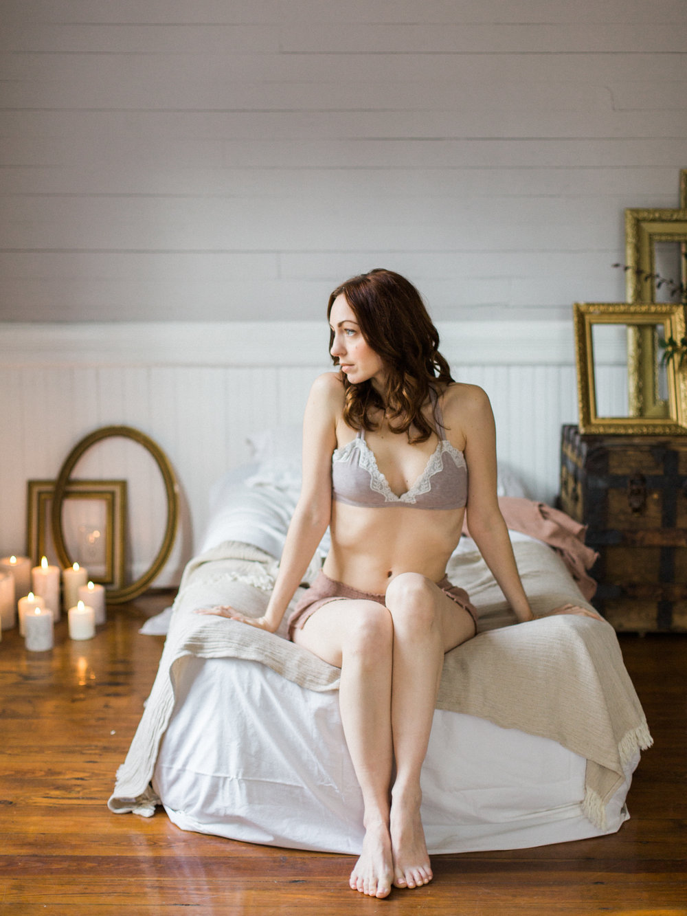 Warm Grey Cozy Home Boudoir on Film - Boudoir Collective