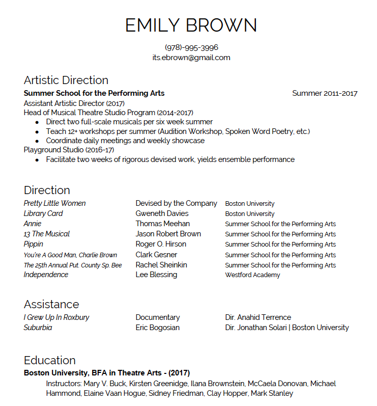 Performing arts resume examples