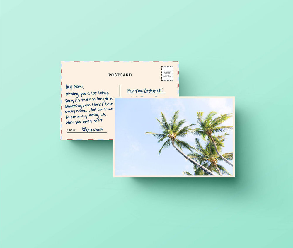 prepaid postcard that comes with every order, so you can write to whoever you're missing