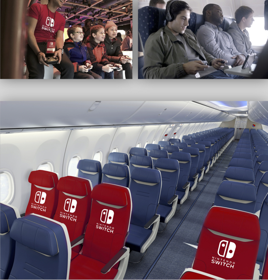 Nintendo sponsored game stations in airports where players can continue their gaming from the terminal to take off.