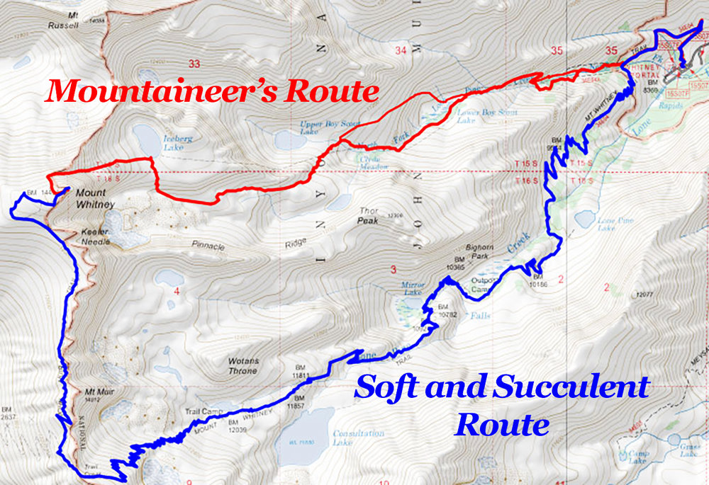 The two most popular trails leading to the Whitney summit