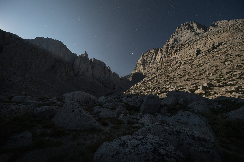 The view from our tent at 3AM. The moon was casting beautiful light rays that pierced through the rocky peaks.