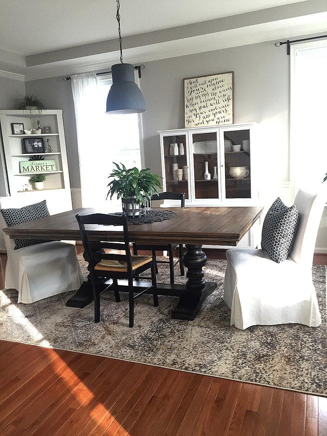 Rug: @Homegoods; Table: @Ashleyfurniture; White chairs and Pendant: @Ikea
