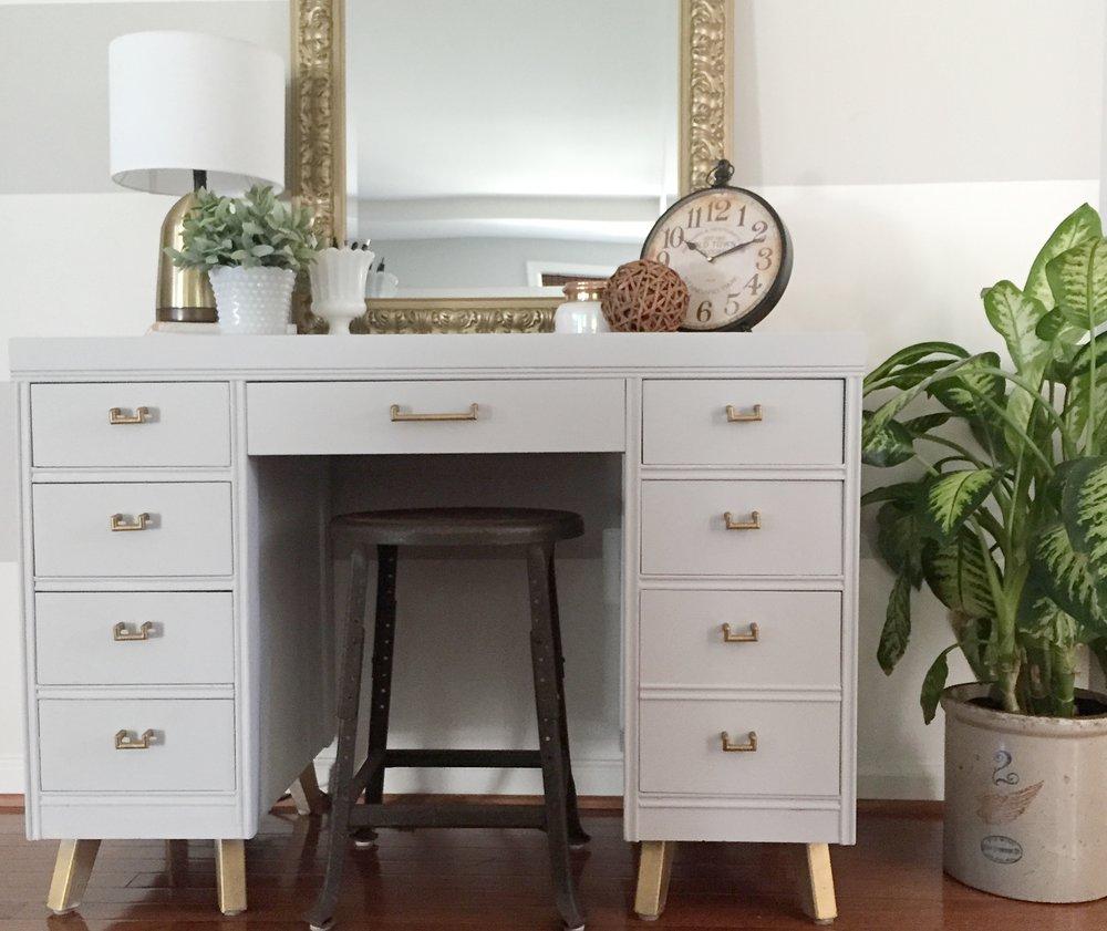 Mirror: @Homegoods; Desk: SW Colonade Gray