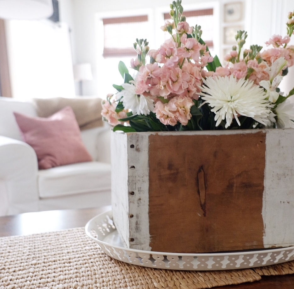 Flowers in a box make a great Spring centerpiece.