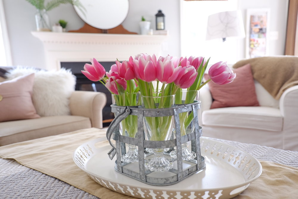 Tulips in glasses and placed in a metal tray.