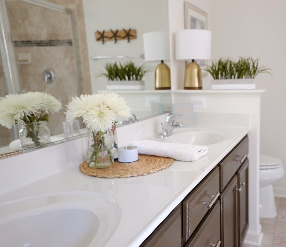 Flowers in a guest bathroom are a great way to make your guests feel special.