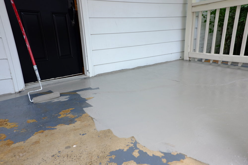 Painted the concrete on the side porch to make it look clean and fresh.