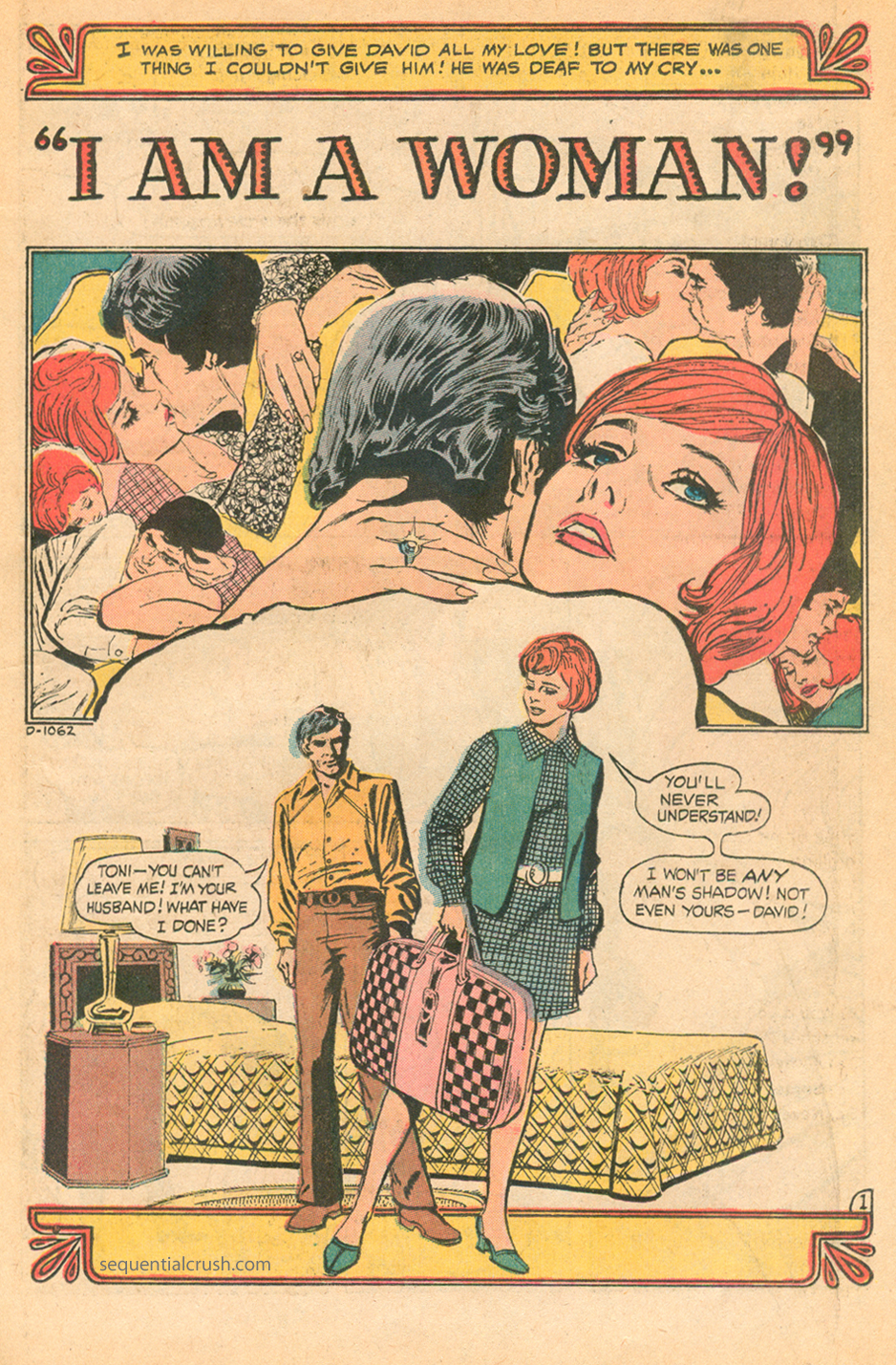 Romance comic book story illustrated by Tony DeZuniga