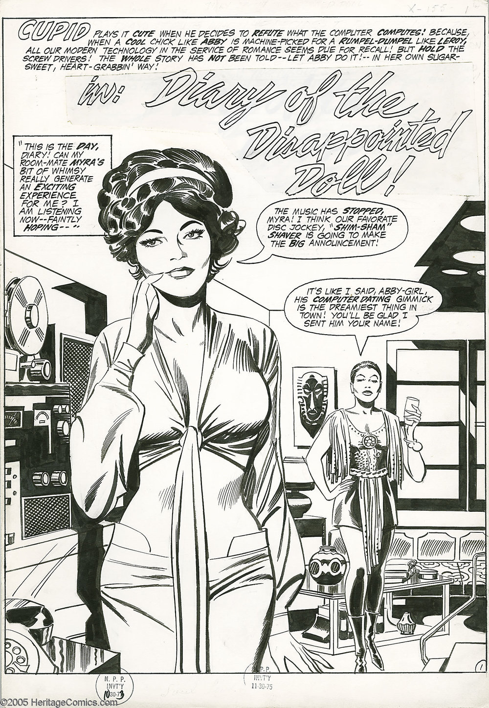 """Diary of the Disappointed Doll""  Soul Love  #1 (Unpublished) Pencils: Jack Kirby, Inks: Tony DeZuniga, Image from Heritage Auctions"