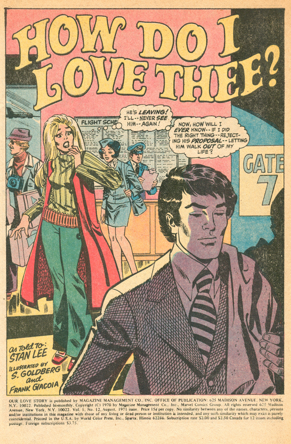 Our Love Story #12 1971 Stan Goldberg Archie artist Marvel romance comics