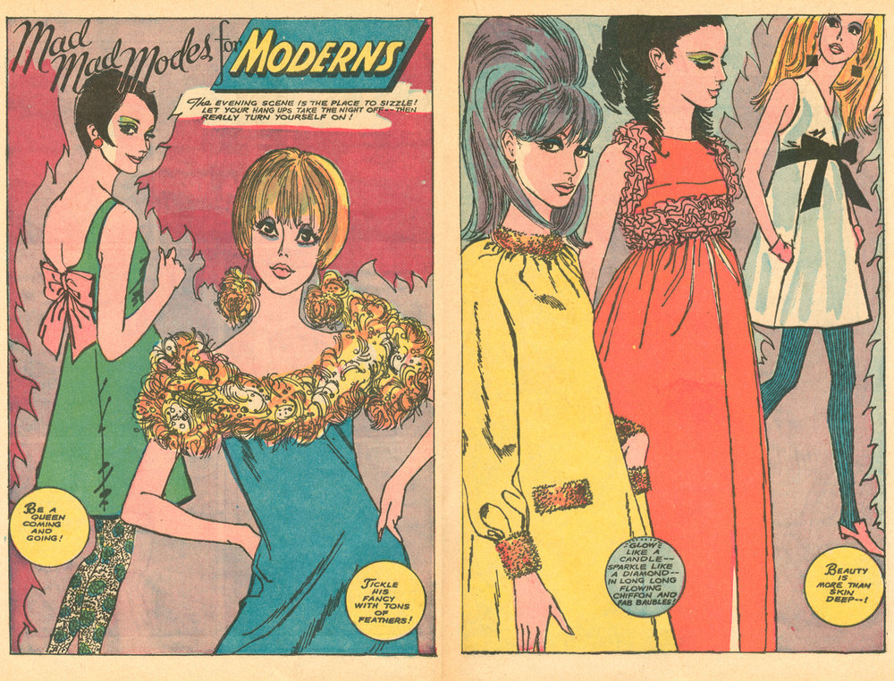 "With a signature tilted neck, Abruzzo's characters are equal parts sweet and sassy   ""Mad Mad Modes for Moderns""  Young Love  #63 (September/October 1967)"