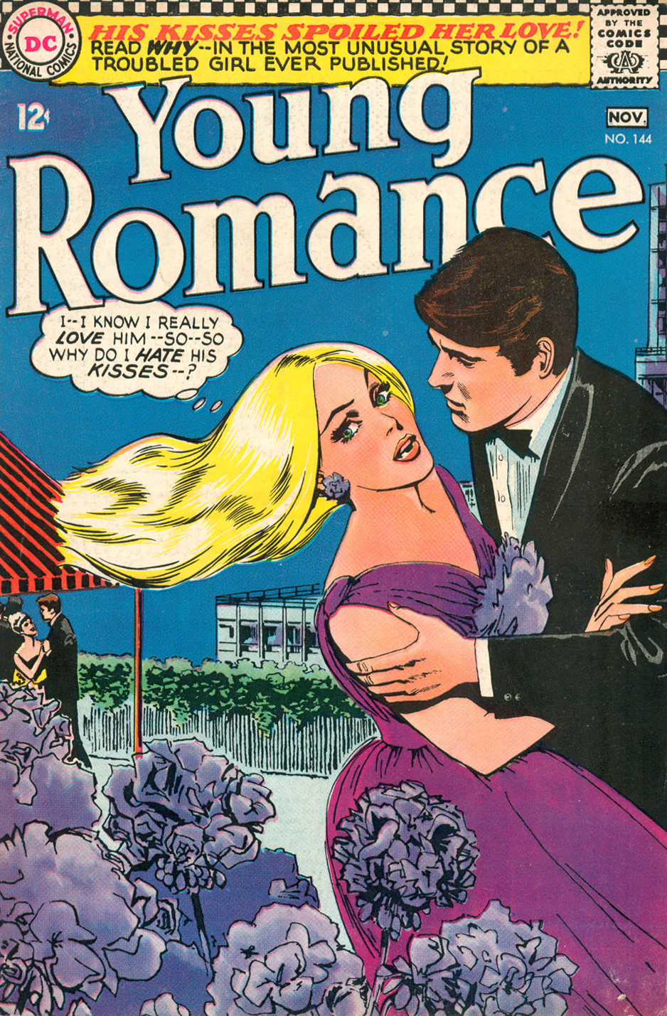 Abruzzo frequently used floral motifs in his work.  Young Romance  #144 (October/November 1966)