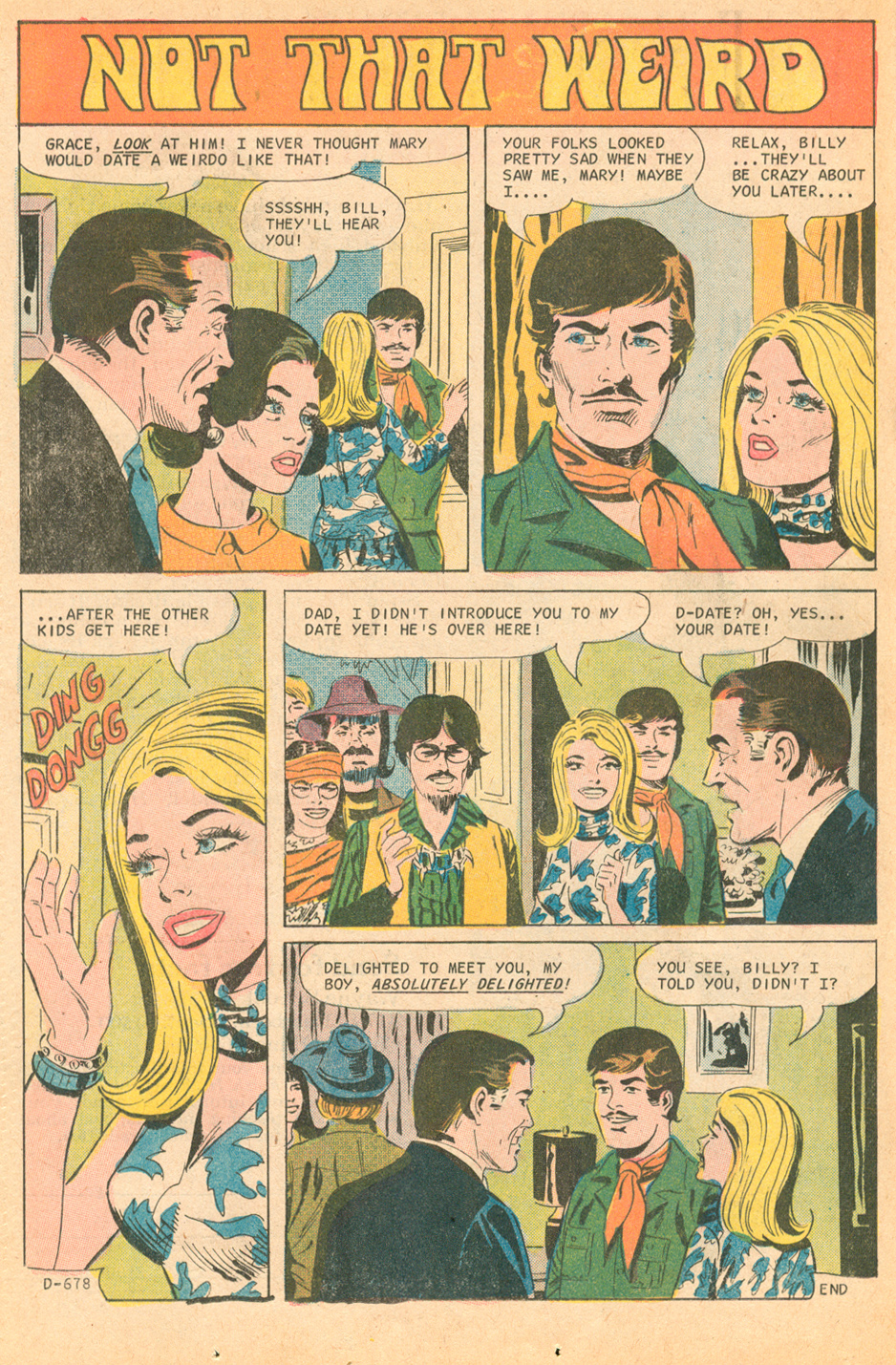 """Not That Weird""  Time for Love  #22 (May 1971) Pencils: Charles Nicholas, Inks: Vincent Alascia"