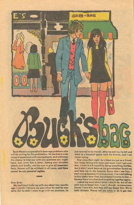 romance comic book advice column buck's bag charlton