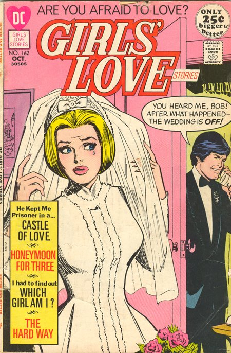 This apprehensive beauty comes from  Girls' Love Stories  #162 (October 1971) Cover by Jay Scott Pike