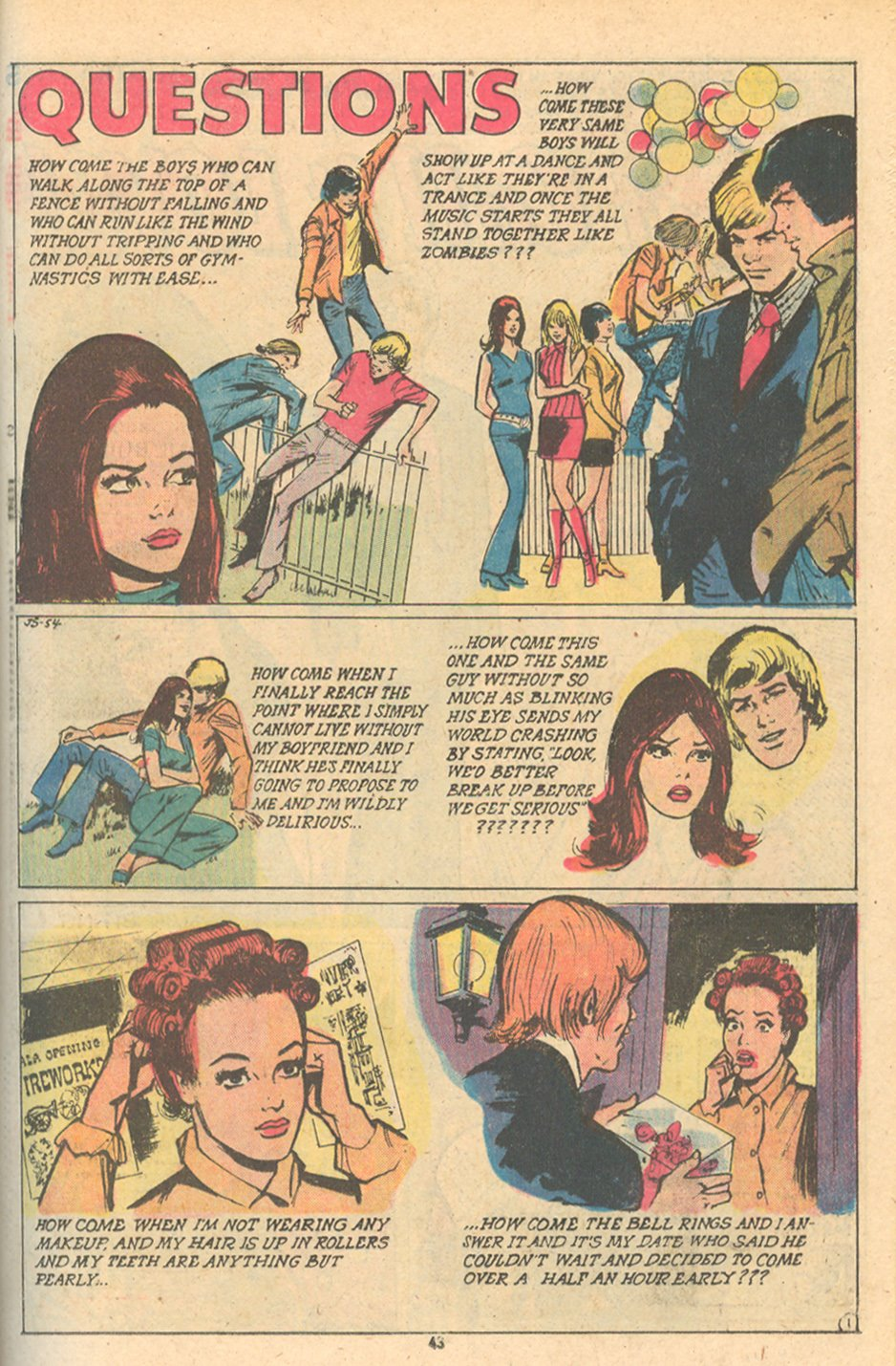 """Questions"" from  Young Love  #108 (February/March 1974) Art by Winslow Mortimer"