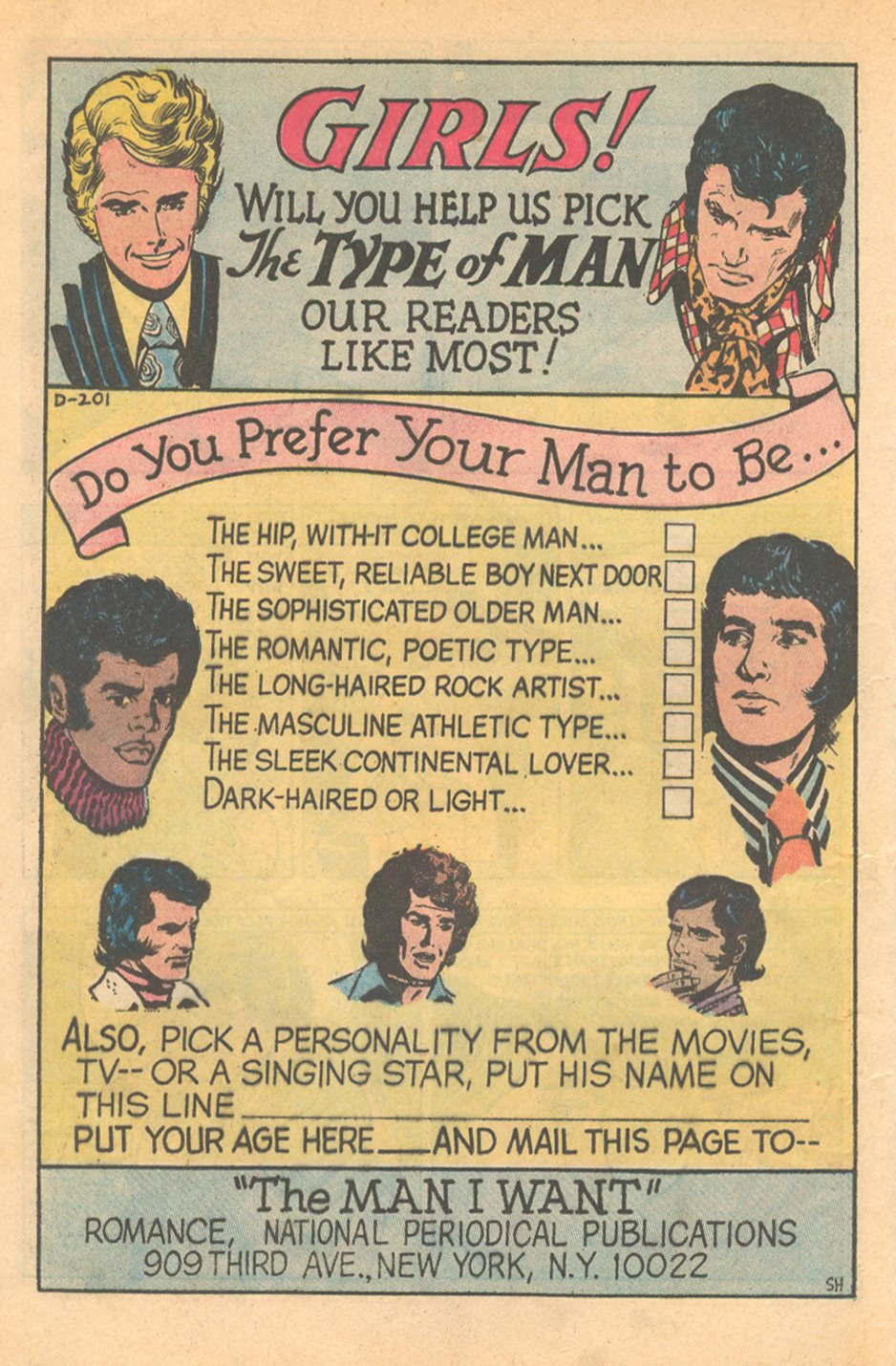 The Man I Want Romance Comic Book survey from DC Comics