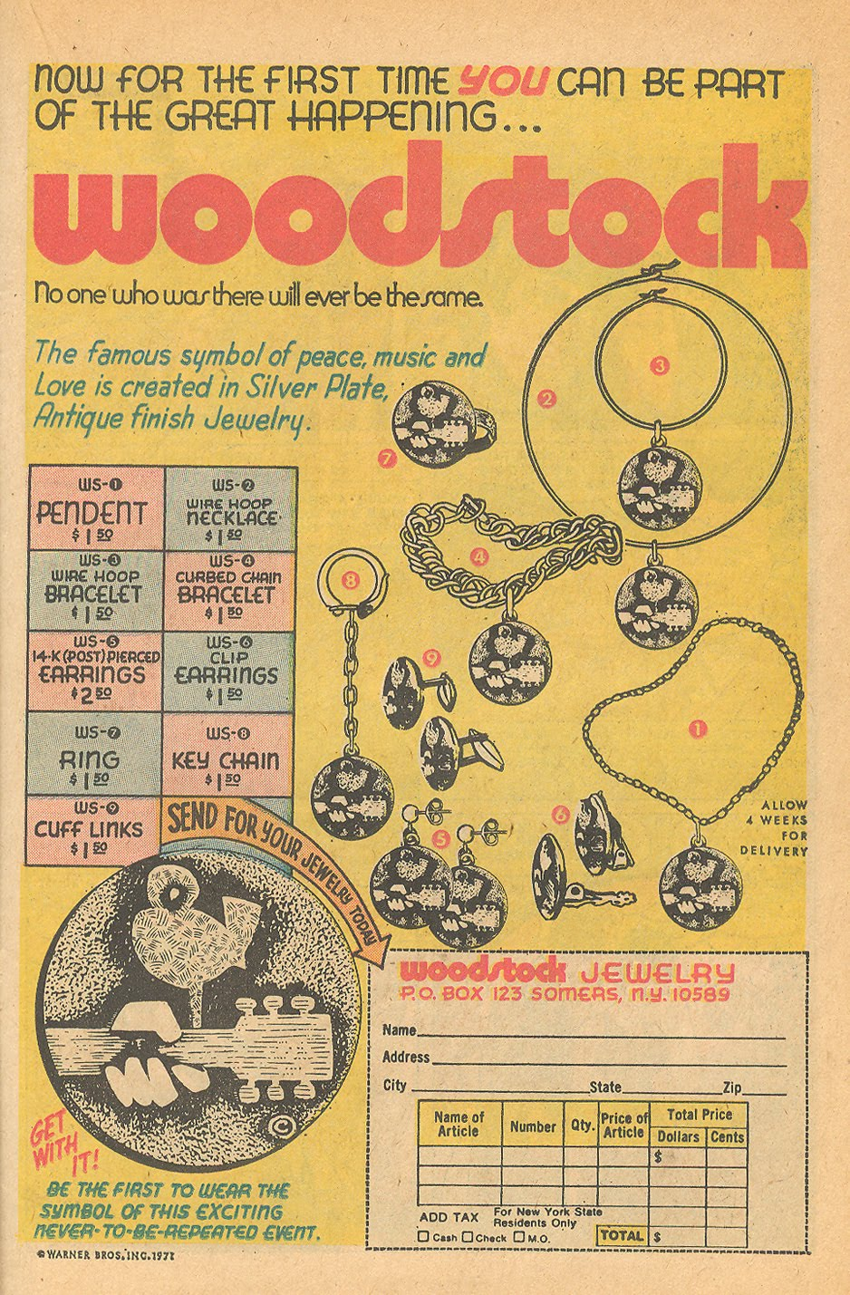 Woodstock jewelry ad from 1970s