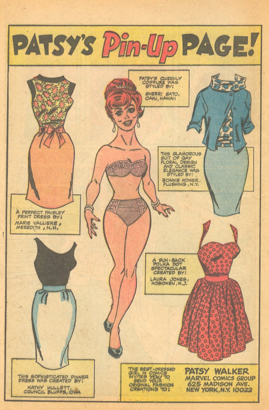 Al Hartley Patsy Walker Stan Lee Marvel Comics Patsy's Pin-up page