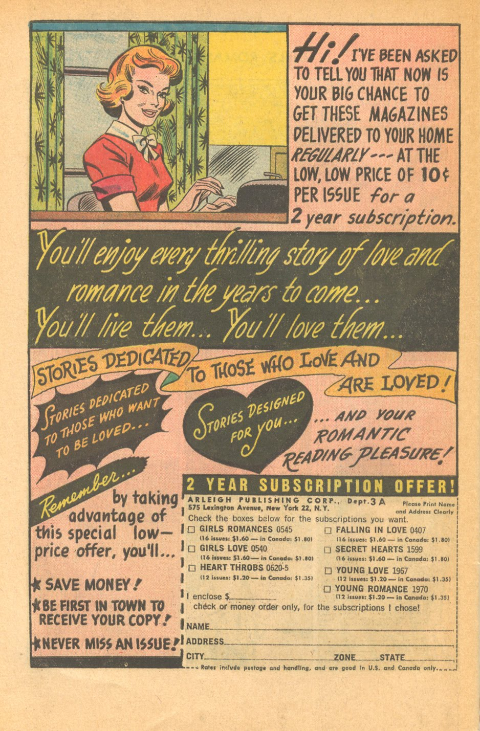 DC comics romance comics subscription form