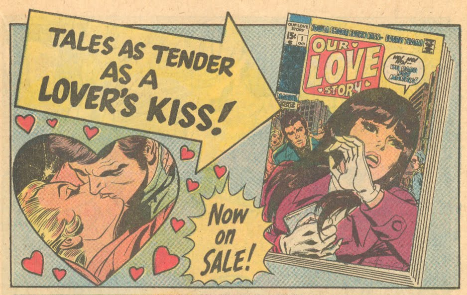 Marvel romance comic book advertisement