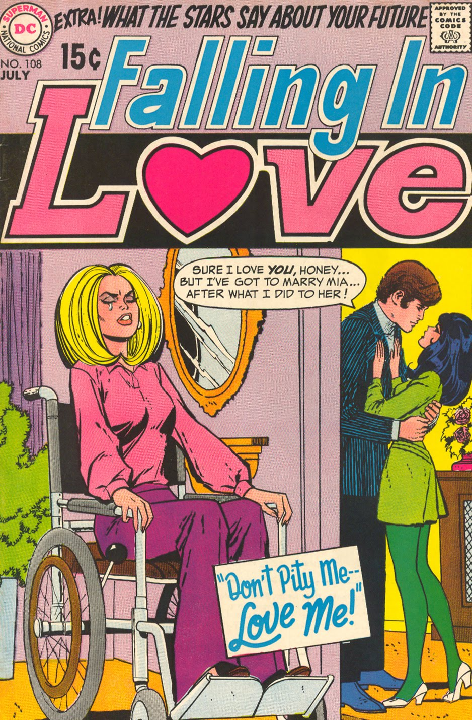 "DIAGNOSIS: Paralysis from car accident ""Don't Pity Me -- Love Me!""  Falling in Love  #108 (July 1969) Cover pencils by Ric Estrada, inks by Vince Colletta"