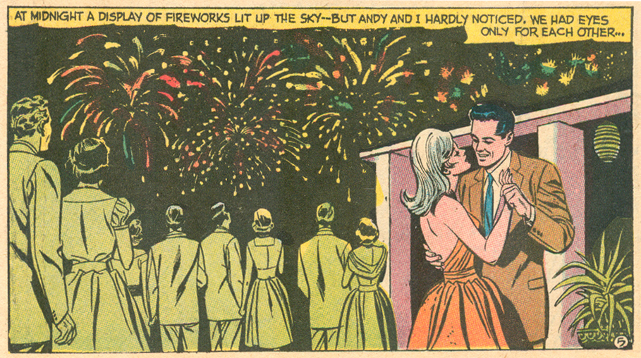 Fireworks romance comic panel