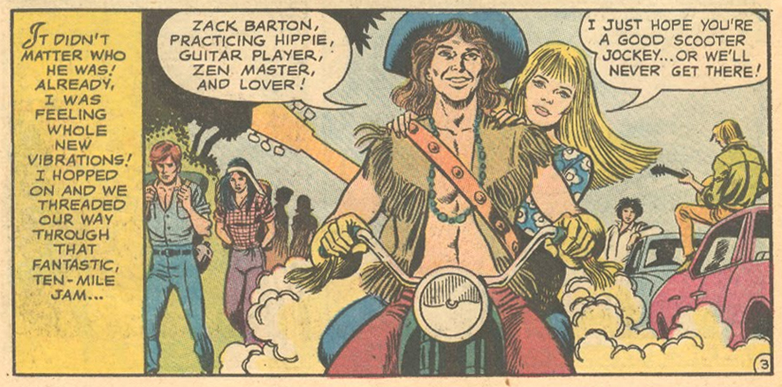 Romance comic book hippy 1970s Woodstock