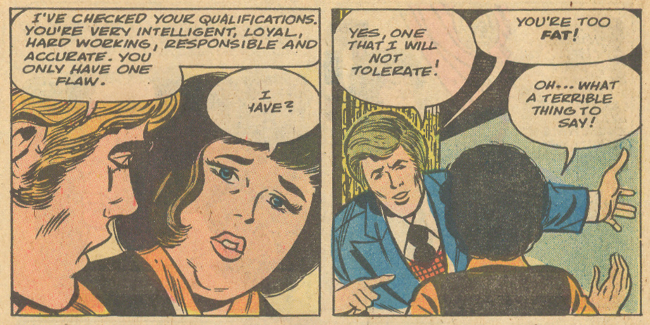 """Fat!"" an Art Cappello penciled tale from Secret Romance #44 (August 1979)"