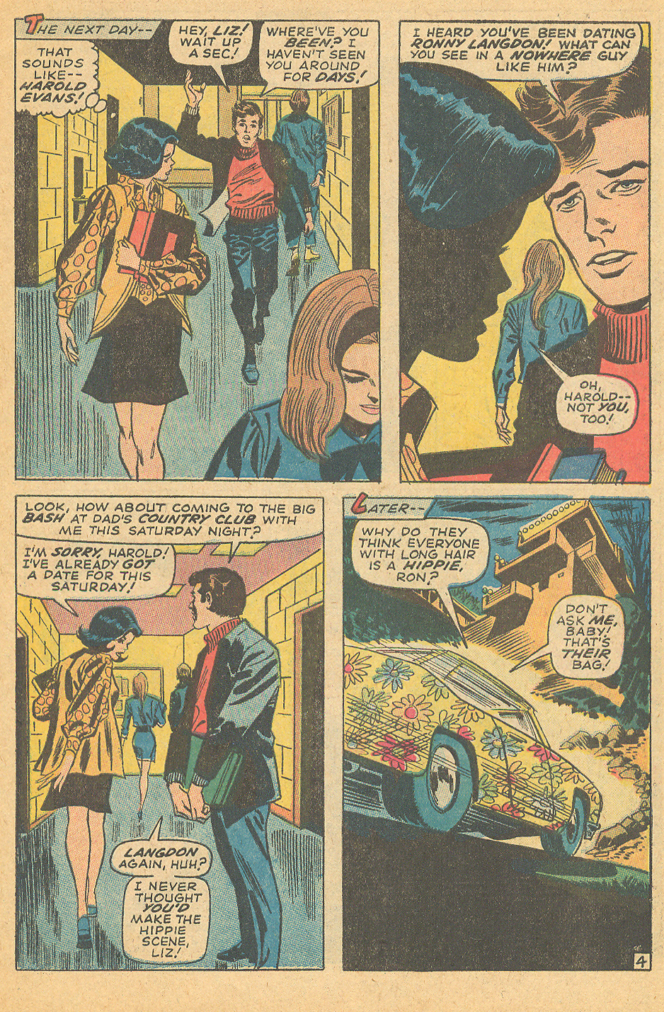 """""""His Hair is Long and I Love Him!"""" from   My Love  #5 (May 1970) by the creative team of Stan Lee, Gene Colan, and Frank Giacoia"""