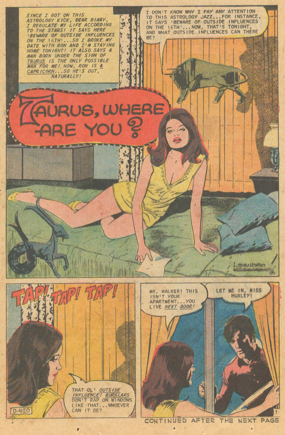 "Leandro Sesarego illustrated, ""Taurus, Where Are You?"" Charlton romance comic book story"