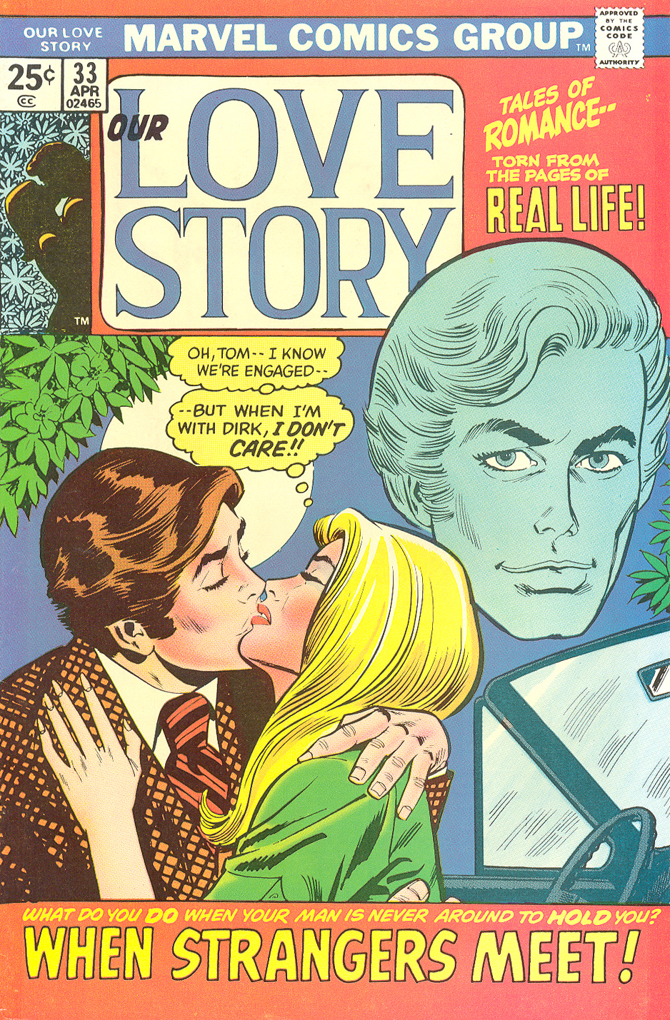 """When Strangers Meet!"" Our Love Story #33 Cover (April 1975) Reprinted from My Love #20 (November 1972) Pencils: Jim Starlin, Inks: Mike Esposito"
