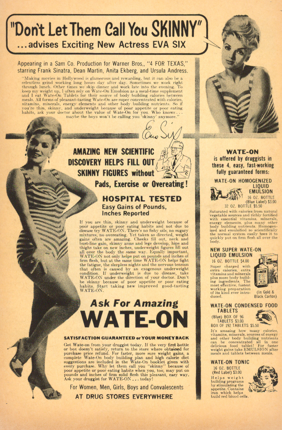 Vintage diet aid advertisement wate-on tonic