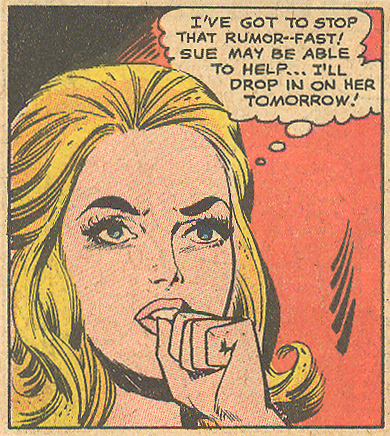 "A thought bubble is complimented well by a little Mortimer fist, don't you think? ""No Time for Love!"" Girls' Romances #141 (June 1969)"