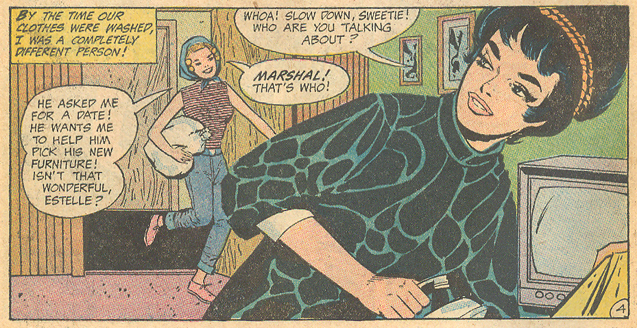 "A tiny fist put to a more practical use -- ironing! ""Too Beautiful to Be Loved"" Girls' Romances #147 (March 1970)"