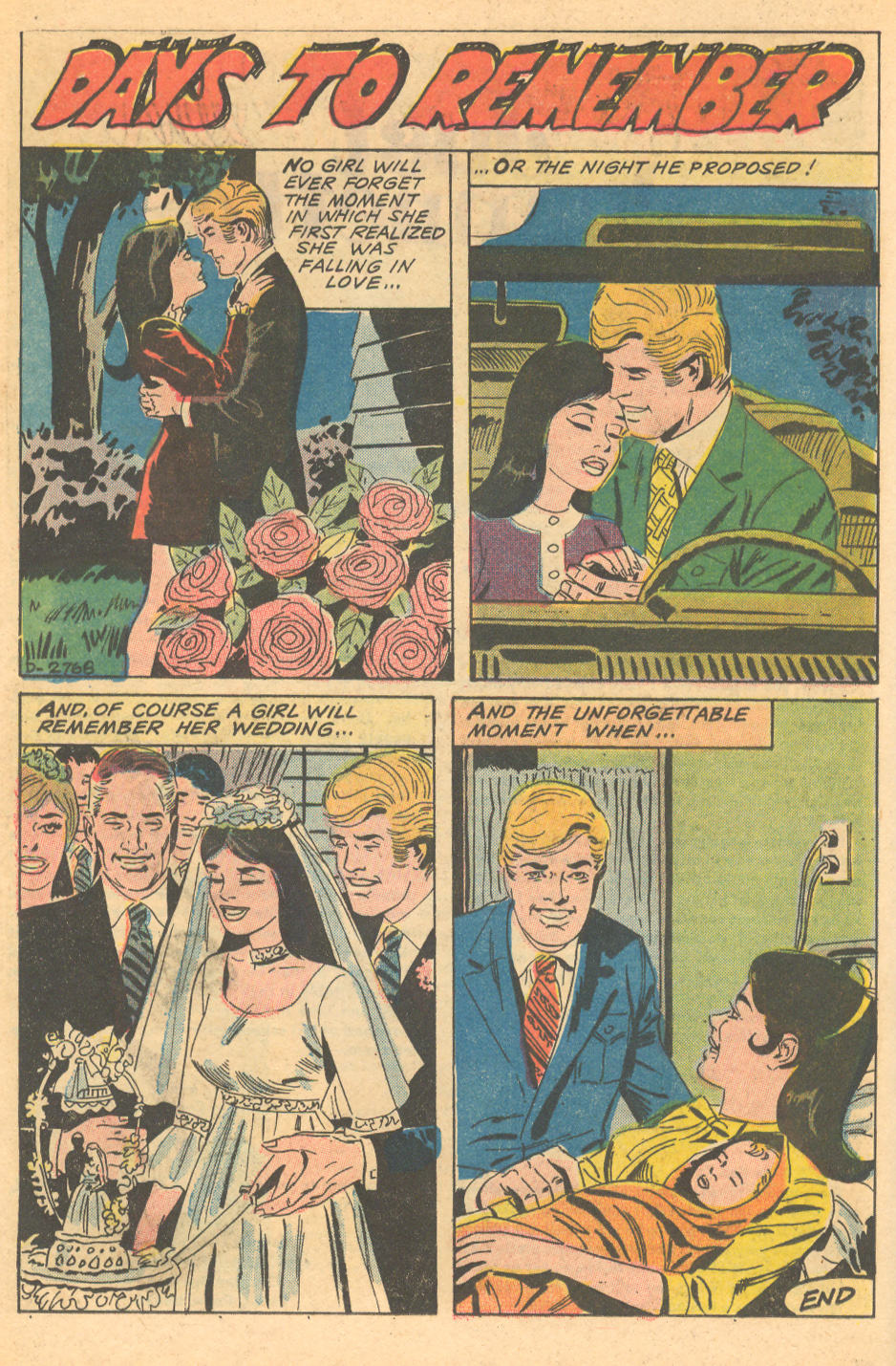 """Days to Remember""  Just Married  #93 (March 1973) Pencils by Charles Nicholas, Inks by Vincent Alascia"
