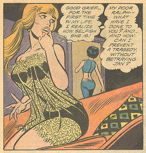 """A Little Kiss for Big Sister!"" Young Love #84 (January/February 1971) Penciled by Saaf, inker unknown"