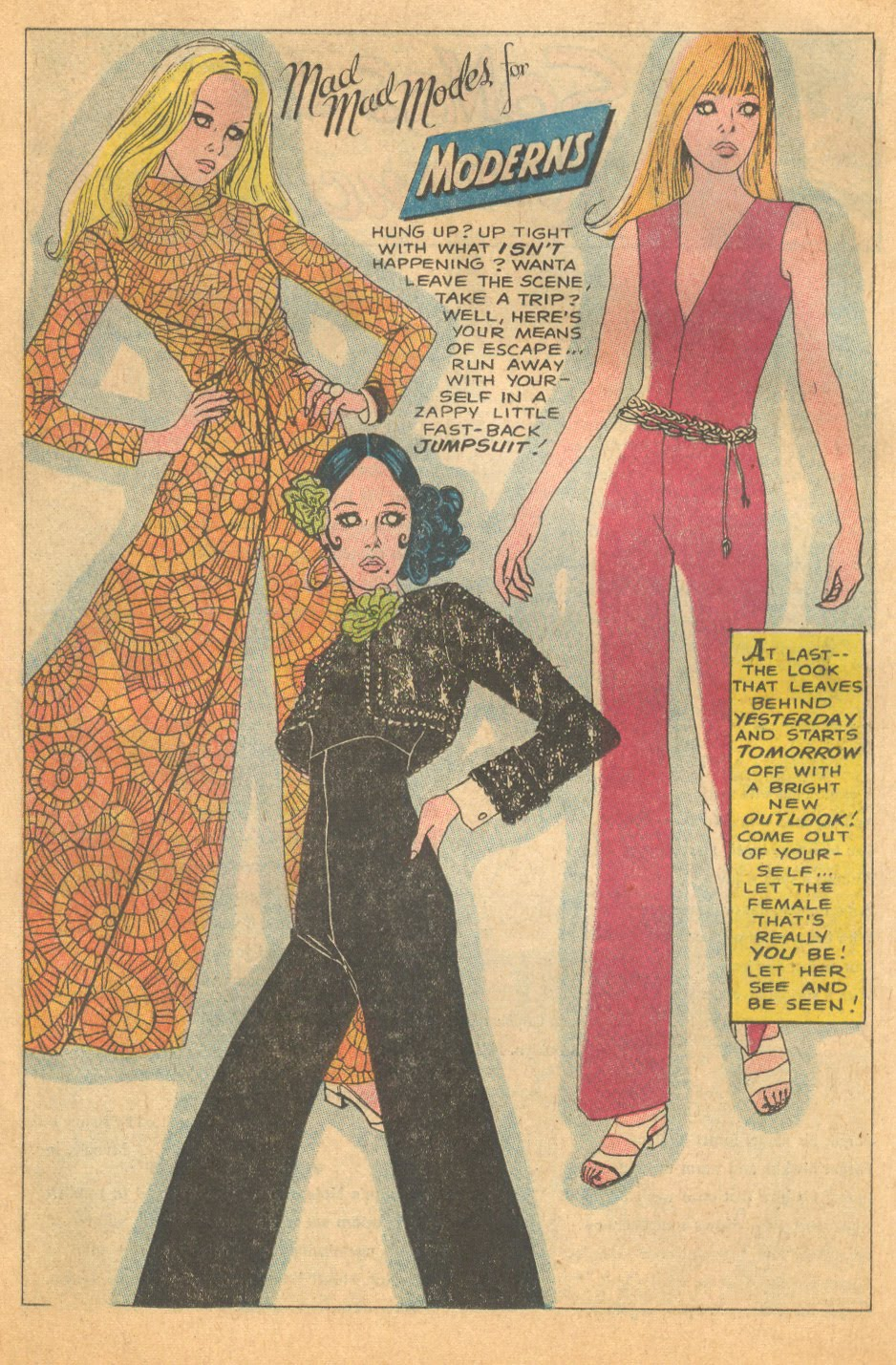 1969 year of the jumpsuit fashion icon illustration romance comic books
