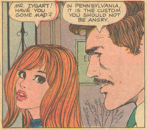"Charlton was ahead of the mustache game with this flirtatious ""adult education"" teacher character. ""A Kiss for Teacher""  Career Girl Romances  #47 (October 1968)"