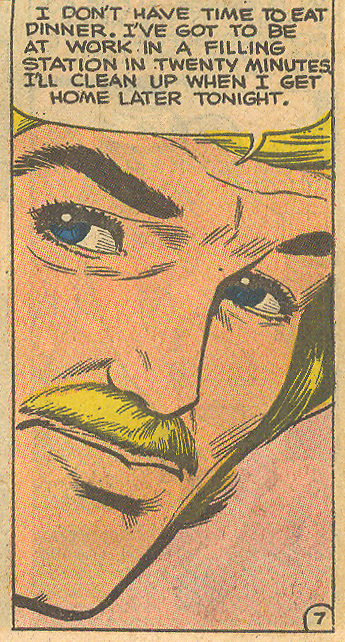 "Mustaches came in all colors and were worn by men of all occupations, including this hardworking construction worker... ""Happiness Now""  Just Married  #110 (April 1976)"