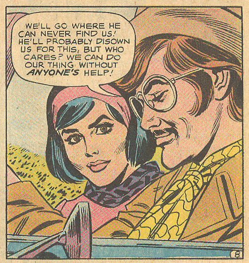 "oung, handsome rebels of the romance comics were prone to keeping their upper lip hairs festive... ""One Husband, Two Loves!""  Girls' Love Stories  #157 (February 1971)"